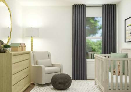 Rendering of nursery room with side view   of window, additional seating, storage, and large circular mirror.