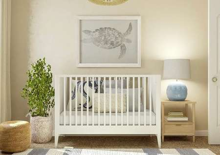 Rendering of a secondary bedroom   decorated as a nursery with a window adorned with cream curtains on the left   wall and a white crib and light wood nightstand on the back wall.
