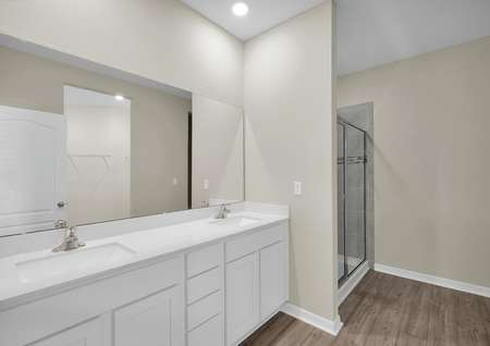 Double sinks, a step-in shower and a large walk-in closet complete the full bathroom in the home's master retreat.