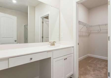 Alamance master bathroom with large vanity, carpeting, and walk-in closet