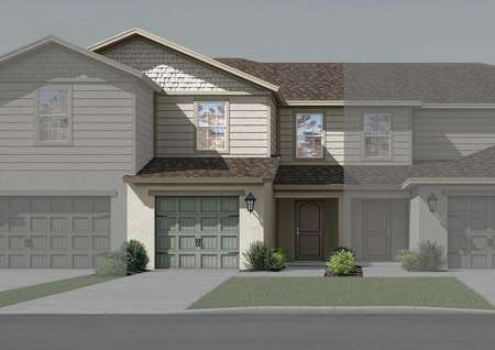 Illustration of two-story townhome with a one-car garage, front yard landscaping and two windows.