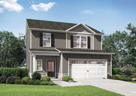 Avery floor plans two-story model home renderings with a decorativefront-facing two-car garage.