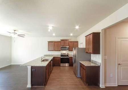 Spacious family room next to a chef-ready kitchen.