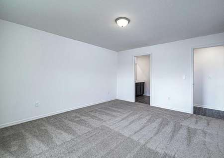 Master bedroom with carpeted floors leading to a full master bathroom.