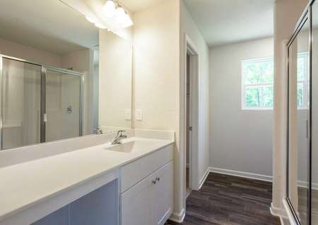 Fripp master bath with large white vanity, walk-in closet, and walk-in shower