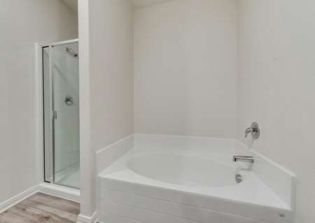 The master bath has a large soaker tub and glass enclosed shower.