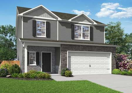 Two-story floor plan illustration with front yard landscaping and a two-car garage.