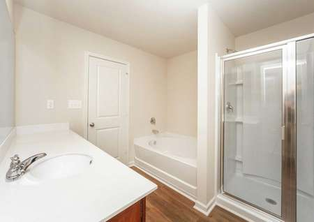 Large standing shower, separate tub, extended vanity in the master bath of the Hartwell model