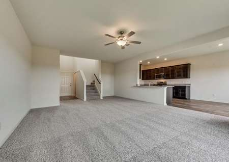 This home has an open-concept layout on the main floor.