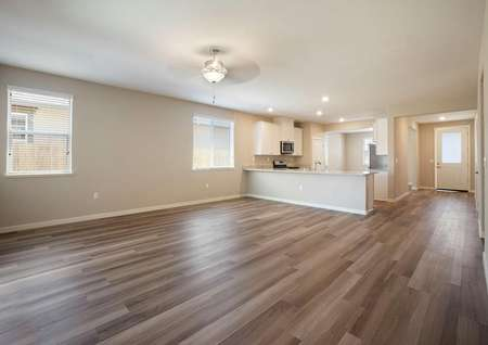 The Lincoln has a huge open layout. The family room is open to the kitchen.