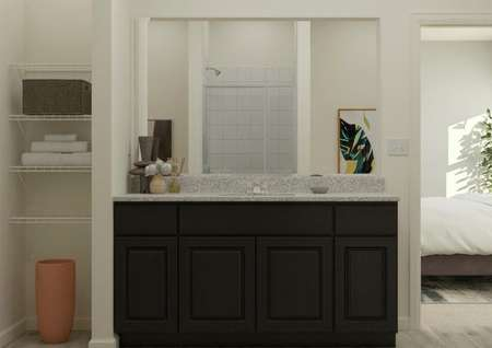 Rendering of the master bath focused on   the spacious vanity with brown cabinetry and a mirror. On one side there is a   linen closet and on the other is the doorway leading to the master bedroom.