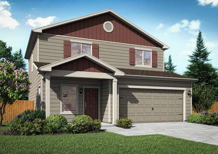 2-story Laramie floor plan rendering with tan siding and red accents