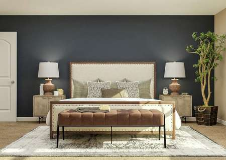 Rendering of the spacious master bedroom   with large bed, two nightstands, bench and accent blue wall
