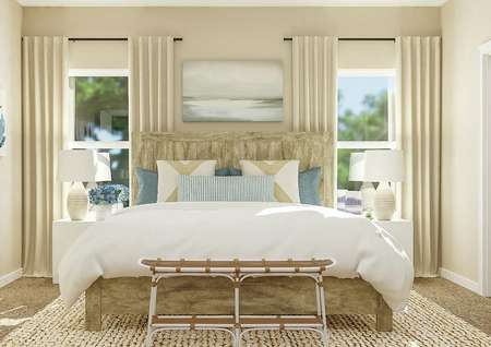 Rendering of the   spacious master bedroom with a large wood bed centered between two   windows.