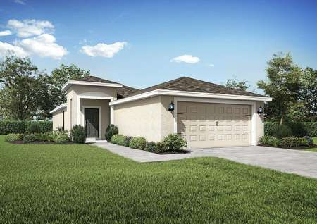 Bahia floor plan exterior side renderingsof the home with a two-car garage and a beautifully landscaped front yard.
