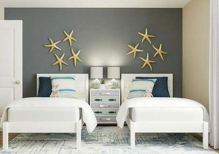 Rendering of secondary bedroom decorated   as ocean-themed children's bedroom, with two twin beds, nightstand and   starfish artwork