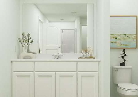 Rendering of owners bathroom with white   finishes, large mirror above sink, and toilet to the side.