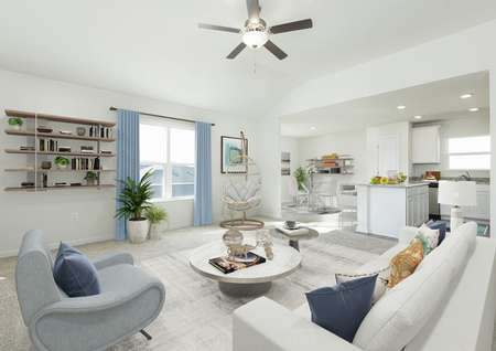 Decorated spacious living room with white sofa, gray chair, round coffee table and floating shelves on wall by window.