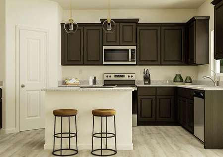 Rendering of a   kitchen with brown cabinetry, granite countertops, stainless steel   appliances, a spacious island and a window. The flooring is a wood look vinyl   plank.