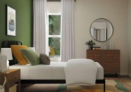 Rendering of secondary bedroom decorated   as children's room with rod iron bed, dresser and window.