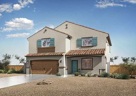 Redondo floor plan rendering exterior with blue shutters, gravel landscaped yard, and brown two car garage