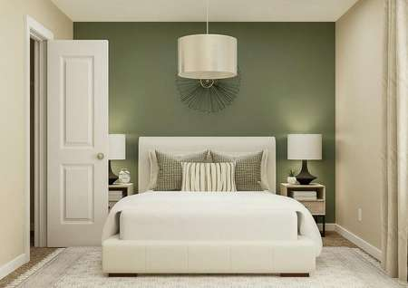 Rendering of a secondary bedroom with   window on the right wall, doorway to the closet on the right wall and a large   bed with two nightstands against a green accent wall.