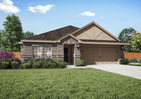 Rendering of the Topeka plan with light brick exterior and tan siding.