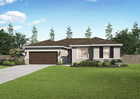 Jasmine floor plan elevation with green lawn, brown two car garage, and single story