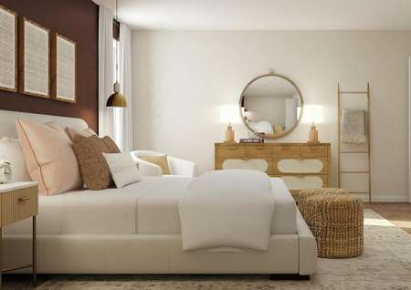 Rendering of a spacious bedroom with a   large bed, white armchair, dresser with large round mirror and a blanket   ladder.