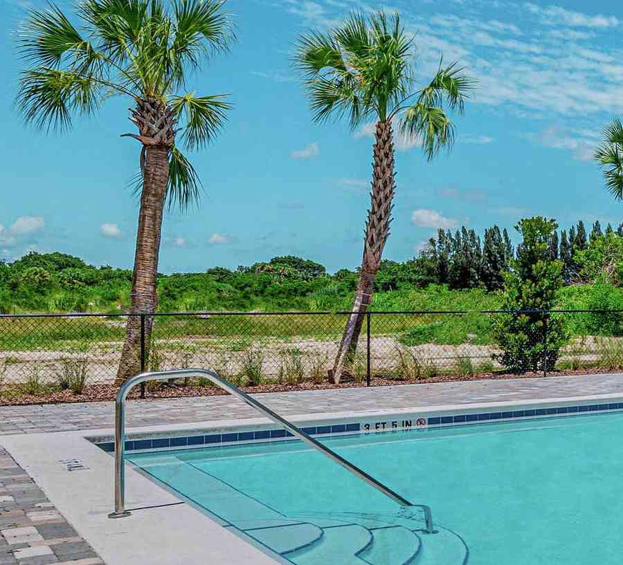 Community pool at Celebration Pointe. Beautiful stone surrounds the pool along with palm trees