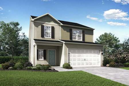 Avery home rendition of the exterior with two floors, white garage door, and green grass