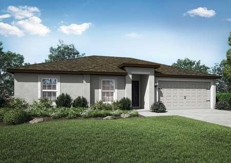 Deltona new home rendering with green grass, two car garage, and light colored siding with dark roof
