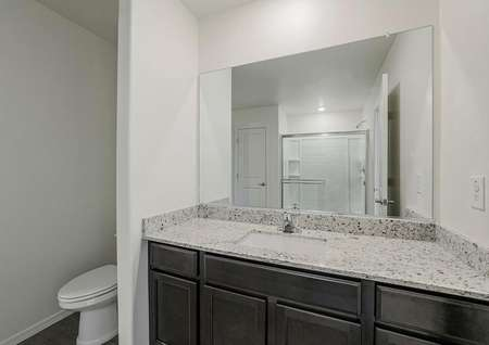Master bathroom includes granite covered vanity with espresso wood cabinets.