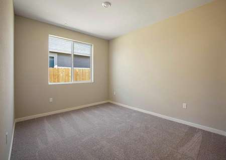 Secondary bedroom with tan walls and brown carpet.