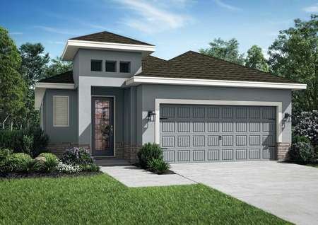 One-story home with front yard landscaping, a covered entryway and a two-car garage.