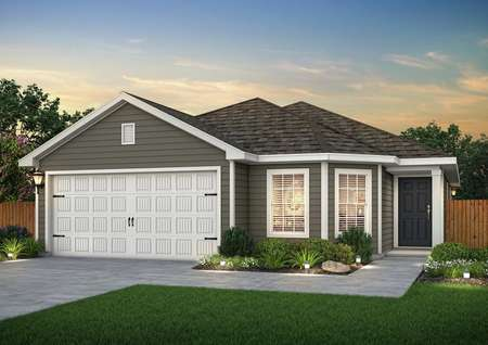 Dusk rendering of the Pecos, built with dark brown/gray siding