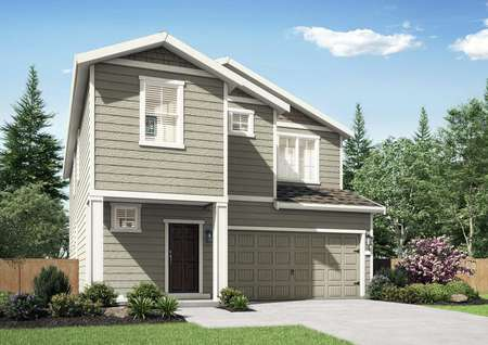 Juniper new home with two stories, landscaped yard, and two car garage door