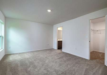 Carpeted owner's retreat with it's own walk-in closet and a full bathroom