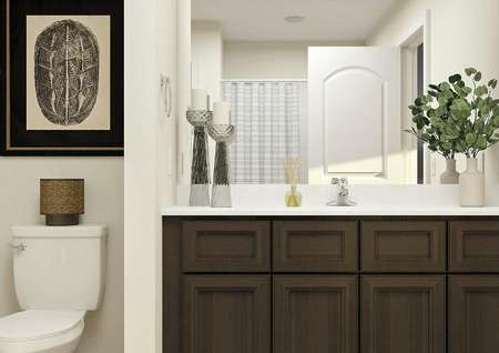 Rendering of a full bath with sink, brown   cabinet vanity, white toilet and striped shower curtain visible in the   mirror.
