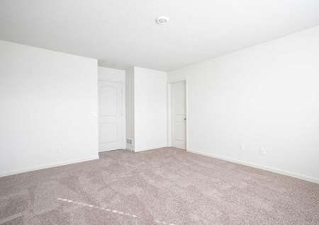 Hennepin finished floor plan with brown carpet, white on white walls, and overhead light