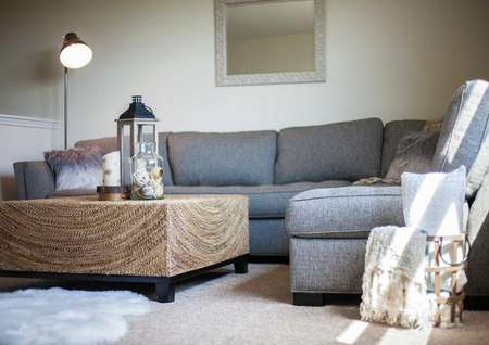 Gray sectional sofa, wooden coffee table with ornament on top and throw pillows.