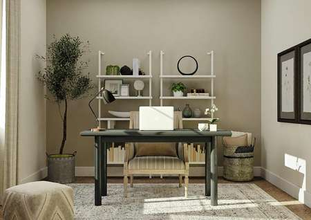 Rendering of a bedroom decorated as an office with two bookshelves, a desk, armchair, potted plant and a rug.