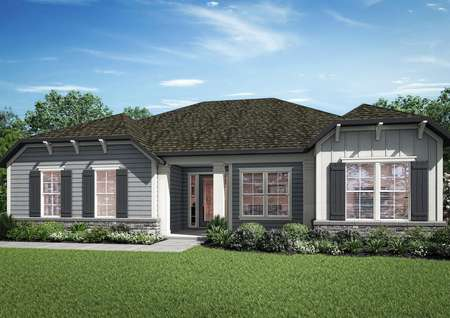 The stunning Albany plan has a charming siding and stone exterior.
