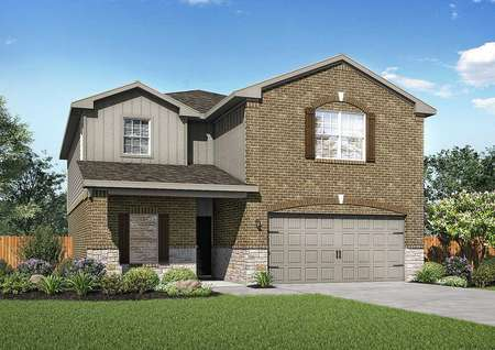 Victoria artist rendering of front exterior with dark brown brick work, gray siding, and gray two car garage