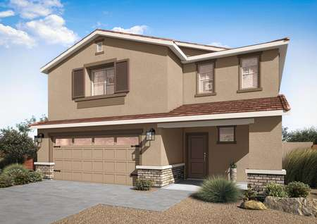 The Snowflake floor plan with a stucco and brick exterior, a 2-car garage with garage windows and professional landscaping.