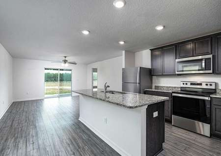 Kitchen space overlooking the family room.