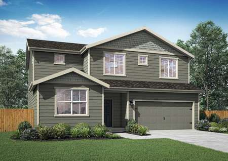 Two story Henry plan by LGI Homes, dark gray siding with three large windows and two small windows on front elevation, two car front garage.