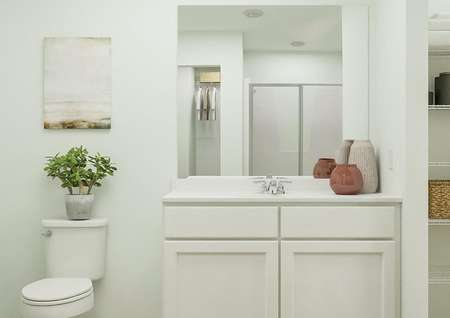 Rendering of owners bath with white   finishes, linen closet, and toilet.