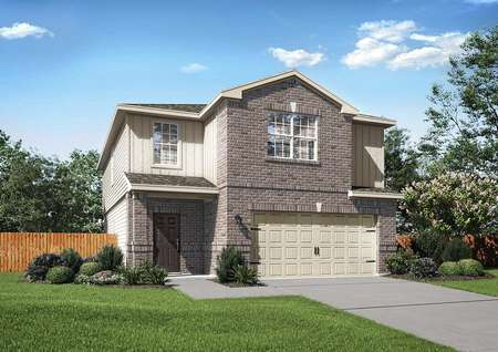 Willow exterior rendering with green grass landscape, brick siding, and two stories