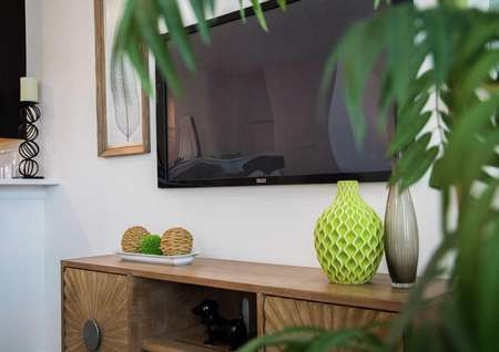 Family room staged with tv mounted on the wall, wooden credenza with vases on top and a house plant obscuring the picture.